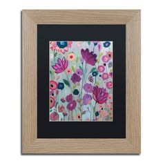 "Trademark Art 'Lilac' Framed Painting Print Frame Color: Birch, Size: 20"" H x 16"" W x 0.5"" D, Mat Color: Black"