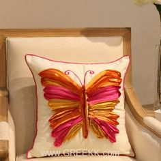 3D Colorful butterflies embroidered handmade cotton pillows