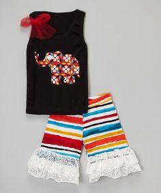 Look what I found on #zulily! Black Elephant Tank & Ruffle Shorts - Infant, Toddler & Girls #zulilyfinds