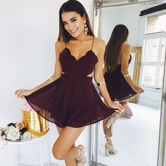 Sexy Prom Dress, Mini Backless Prom Gown, Cute