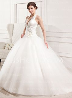 Ball-Gown Halter Chapel Train Satin Tulle Wedding Dress With Embroidery Ruffle Flower(s) (002012183)