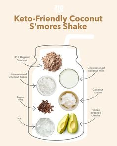 Craving an indulgent sweet treat that doesn't put a damper on your health goals? This superfood packed, luscious, totally delicious Keto Coconut S'mores Shake is just what you need! Protein Powder Recipes, Protein Shake Recipes, Protein Shakes, Yummy Drinks, Healthy Drinks, Keto Recipes, Healthy Recipes, Drink Recipes, Freeze Avocado