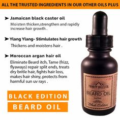 Premium beard oil and conditioner. For beard growth and Health. Jamaican Black Castor Oil, Ylang Ylang, Moroccan Argan oil promotes new hair growth. Castor Oil For Hair Growth, New Hair Growth, Beard Growth Oil, Beard Oil, Vitamins For Beard Growth, Increase Hair Growth, Argan Oil Hair, Jamaican Black Castor Oil, Perfect Beard