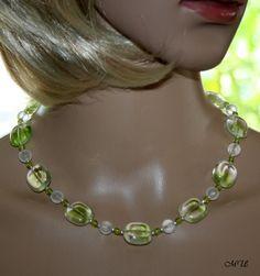 Colliers - Glasperlencollier  in Grün - ein Designerstück von MartinDesign bei DaWanda