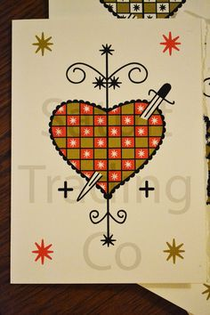 Veve of Loa Erzulie Dantor Notecards by SatuitTradingCo on Etsy, $15.00
