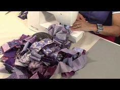 """40 minute scrap quilt with Valerie Nesbitt -- wow, this is amazing! Takes a bit more sewing than cutting, but in the end you really have a unique quilt without too much """"math"""" involved! :) Very creative way to use up scrap strips!"""