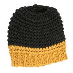 Knitted Bun Hat-Black/Yellow