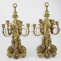 Pair of F. Barbedienne bronze 6-arm candelabra : Lot 132