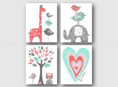 Gris et corail turquoise Nursery décor bébé fille chambre d'enfant Art Baby Nursery sticker girafe éléphant oiseaux coeur amour ensemble de 4 impressions