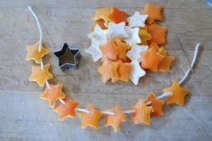 Garland made from orange peels. citrus-scent your tree! Or put the shapes in tea.