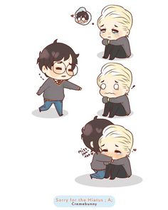 Oh my god, im so sorry for these random disappearances, its hard for me to stay motivated nowadays D'; I'm sorry im not active in the Harry Potter Fando. Chibi Drarry Miss you Draco Harry Potter, Harry Potter Comics, Harry Potter Anime, Harry Potter Ships, Drarry Fanart, Drarry Fanfiction, Fan Fiction, Hogwarts, Slytherin