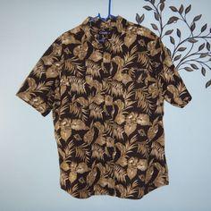 Chaps Mens Hawaiian Short Sleeve Shirt Black Green Leaves Size XXL #Chaps #Hawaiian
