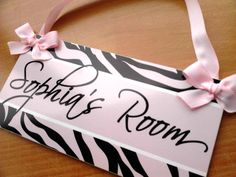 zebra print room decor pink zebra print door sign  by kasefazem, $15.99