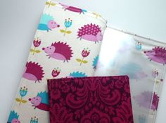 Tract holder with pockets for meeting invitations and business cards- hedgehogs by MinistryThreads on Etsy