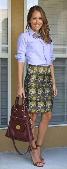 Oxford Shirt or Chambray Top, Brocade Skirt, Feminine Shoes, Statement Necklace . || Rita and Phill specializes in custom skirts. Follow Rita and Phill for more tips on the unwritten rules of office fashion!   https://www.pinterest.com/ritaandphill/business-casual-for-casual-offices
