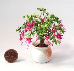 Dollhouse Miniature 1 12th Scale Fuchsia Plant by Mary Kinloch IGMA Fellow | eBay