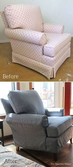 Old pink upholstered chair updated with a new custom slipcover. Brazil linen color Blue 5 from Insta Linen -- fabulous!