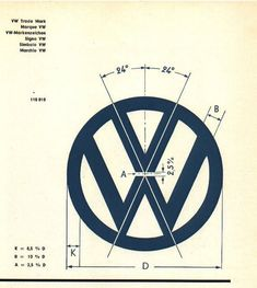 "The original Volkswagen ""VW"" logo trademark design specifications Logo Design, Identity Design, Typography Design, Web Design, Brand Identity, Visual Identity, Design Art, Volkswagen Bus, Vw T1"