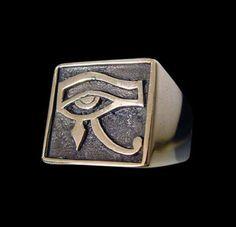 Bronze Udjat Eye of Horus Egyptian God Ring - Any Size - Free Shipping #Handmade #StatementBikerRing