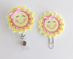 Sun with Bow Felt Paperclip | Badge Reel | ID Badge | Badge Holder | Lanyard | Planner Clip | Planner Accessories | Spring Felties | Weather