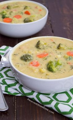 One pot healthy vegan broccoli cheese soup is sure to make any dinner special. This broccoli cheese soup only takes 25 minutes and is packed with added veggies fiber and protein! Vegan gluten free dairy free and delicious! | www.pancakewarrio…