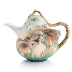 Franz Sculptured Porcelain Collection Family Fun Elephant Teapot