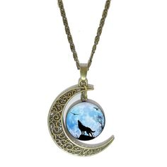 Fashion Wolf Glass Cabochon Pendant Necklace Vintage Bronze Hollow Half Moon Charm Chain Necklace For Women Fine Jewelry