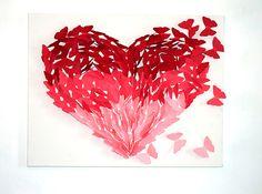 Arte faça você mesma com borboletas 3D em formato de coração