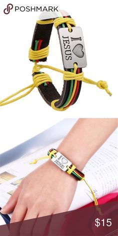 Christian I Love Jesus faux  leather bracelet. Fashion beach style Christian I Love Jesus faux  leather colorful hemp straps bracelet. Please feel free to make an offer or to ask any questions. fashion Jewelry Bracelets