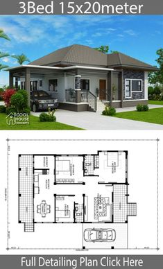 Home design plan with 3 BedroomsHouse description:One Car Parking and gardenGround Level: Living room, Dining room, Kitchen, backyard, Bungalow Haus Design, Modern Bungalow House, Bungalow House Plans, House Front Design, Small House Design, Modern House Design, 4 Bedroom House Designs, Three Bedroom House Plan, Modern House Floor Plans