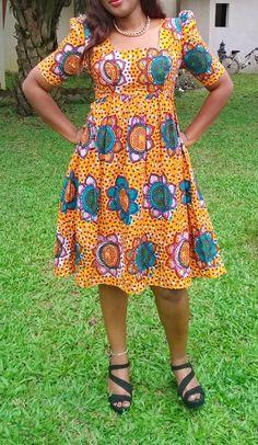 Belle robe en pagne wax africain n°6