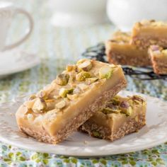 Triple Ginger, Oat and Pistachio Slice - perfect for afternoon tea!