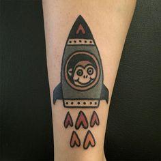 Monkey Rocket Tattoo by Panther tattoo Jiran More