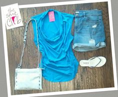 It's hot out there!  Bobi Cowlneck Top $45 Denim Shorts $45 Hammitt Getty 3.0 $325 TKEES Flip Flops $52 ☎️ 210-824-9988