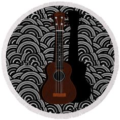 """CUTE ROUND BEACH TOWELS! UkeLeLE pOp aRT DecO sWinG! The beach towel is 60"""" in diameter and made from 100% polyester fabric. By Cecely Bloom"""