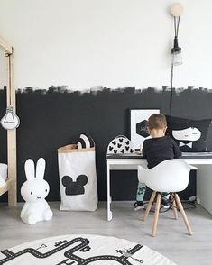 black and white walls