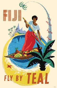 Fiji Fly by TEAL - Tasman Empire Airways Limited - Fijian Native Poles a Canoe - Vintage Airline Travel Poster by Arthur Alfred Thompson - Master Art Print - x Retro Airline, Airline Travel, Vintage Airline, Travel Ads, A4 Poster, Retro Poster, Party Vintage, Vintage Art, Vintage Safari