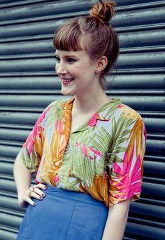 Vintage 80's tropical shirt blouse