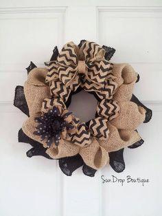Fall Wreath Halloween Wreath Burlap & Chevron by SunDropBoutique, $22.00