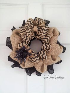 Fall Wreath Halloween Wreath Burlap  Chevron by SunDropBoutique, $22.00