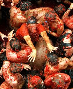 La Tomatina is the biggest food fight in the world. Its very amazing!  In 1945 , in a parade in Buñol, trhe energy of  a group of teens made that one participant fell down. The participant got mad and started to hit everything in his way. Casually nearby there was a vegetable stall that fell victim of the furious crowd: people started to pelt each other with tomatoes. You can konw more about it here: http://www.tomatofestivalspain.com/tomatina-festival/