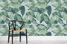 Blue and Green Tropical Leaf Wallpaper