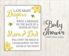 Late Night Diapers Baby Shower Game Sign  Bee by StudioTwentyNine