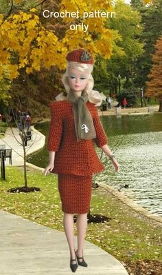 Crochet pattern (PDF or email) for Silkstone Barbie doll 1950s autumn suit 3 pieces Jacket skirt hat. $5.00, via Etsy.