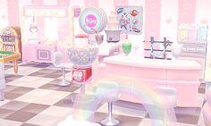 — I turned Fuchsia's house into a 50′s diner 🍴💕... Animal Crossing Pocket Camp, Animal Crossing Wild World, Animal Crossing Qr, Animal Games, My Animal, Animal Room, Nintendo, Kawaii, Happy Home Designer