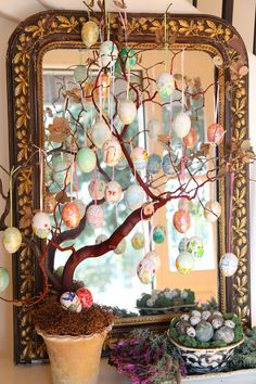 Painted Eggs for Home Decor; Easter Egg Tree; Nora's Nest