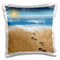 3dRose Footprints in the Sand with Ocean Background, Pillow Case, 16 by 16-inch