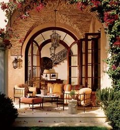 Stylish Patio & Outdoor Space Design Ideas Loggia - Love the bougainvillaea and the patterns with brick.Loggia - Love the bougainvillaea and the patterns with brick. Outdoor Rooms, Outdoor Dining, Outdoor Gardens, Outdoor Ideas, Outdoor Patios, Patio Ideas, Outdoor Furniture, Indoor Outdoor, Iron Furniture