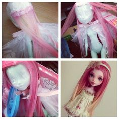 Making a Removable Wig by gluing strands of Alpaca/Suri fiber to a plastic-wrapped, fabric-tape-covered MONSTER HIGH head.:
