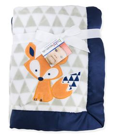 Look at this Navy Fox 30'' x 40'' Receiving Blanket on #zulily today!
